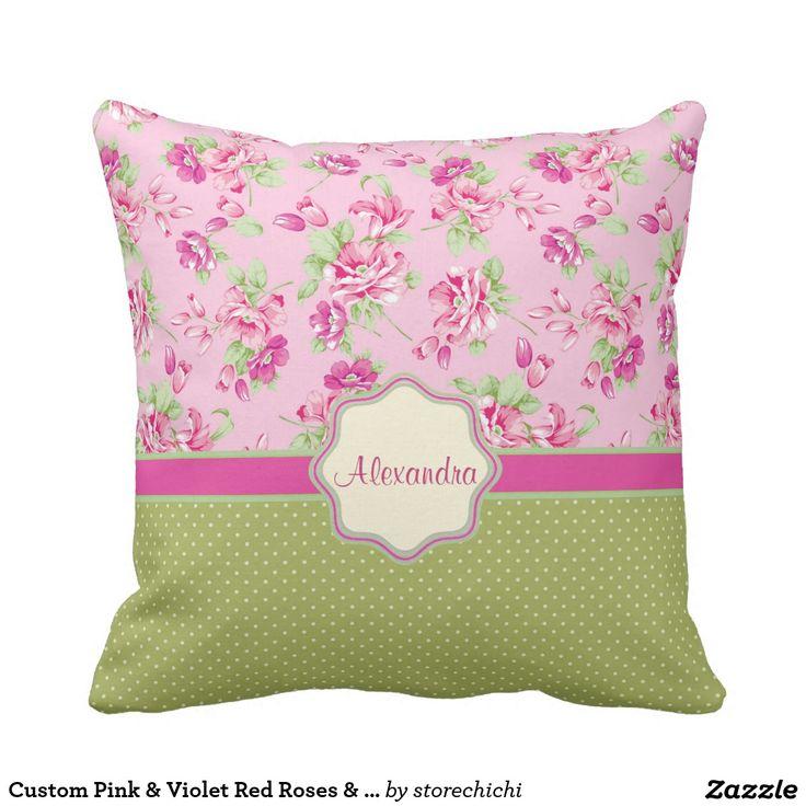 Custom Pink & Violet Red Roses & green polka dots