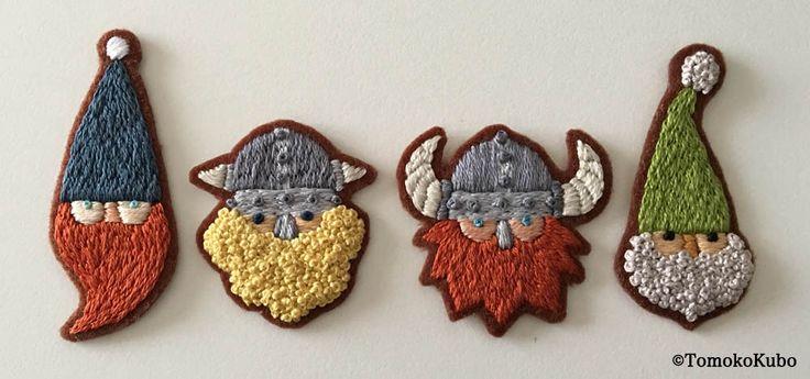 この後ブローチに仕立てます。 #embroidery #刺繍 #Beard #ひげ #illustration #イラストレーション #TomokoKubo #クボトモコ #handmade #ハンドメイド #crafts #小人
