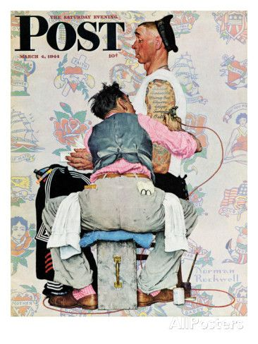 """""""Tattoo Artist"""" Saturday Evening Post Cover, March 4,1944 Giclee Print by Norman Rockwell at AllPosters.com"""