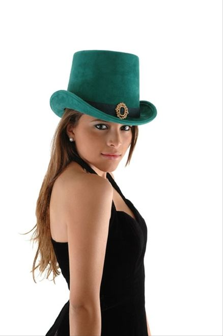 Leprechaun Top Hat - This wonderful top hat is made from a soft ultra suede like material. The hat is a nice deep green and has a darker hat band and an antiqued looking buckle in the front. There is a black elastic lining to the hat which makes a snug fit for those smaller heads. Grab one for your leprechaun or just top off your every day wear for St. Patrick's day. #stpatrick #yyc #classic #hat #costume