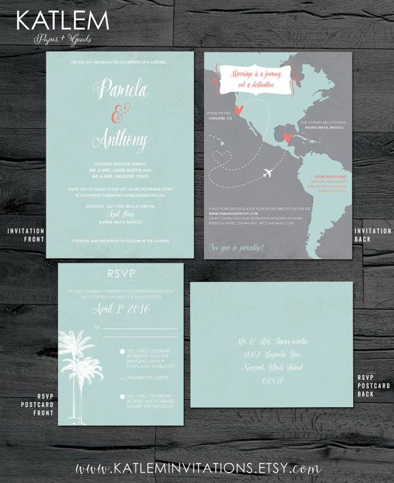 A Slightly More Traditional But Fun Front Side Destination Wedding Invitation The Back Is