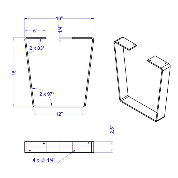 Industrial metal bench legs