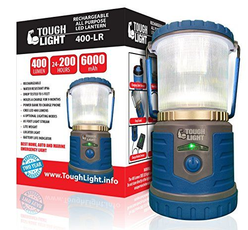 Tough Light LED Rechargeable Lantern - 200 Hours of Light From a Single Charge, Longest Lasting on Amazon! Camping and Emergency Light with Phone Charger - 2 Year Warranty (Blue). For product & price info go to:  https://all4hiking.com/products/tough-light-led-rechargeable-lantern-200-hours-of-light-from-a-single-charge-longest-lasting-on-amazon-camping-and-emergency-light-with-phone-charger-2-year-warranty-blue/