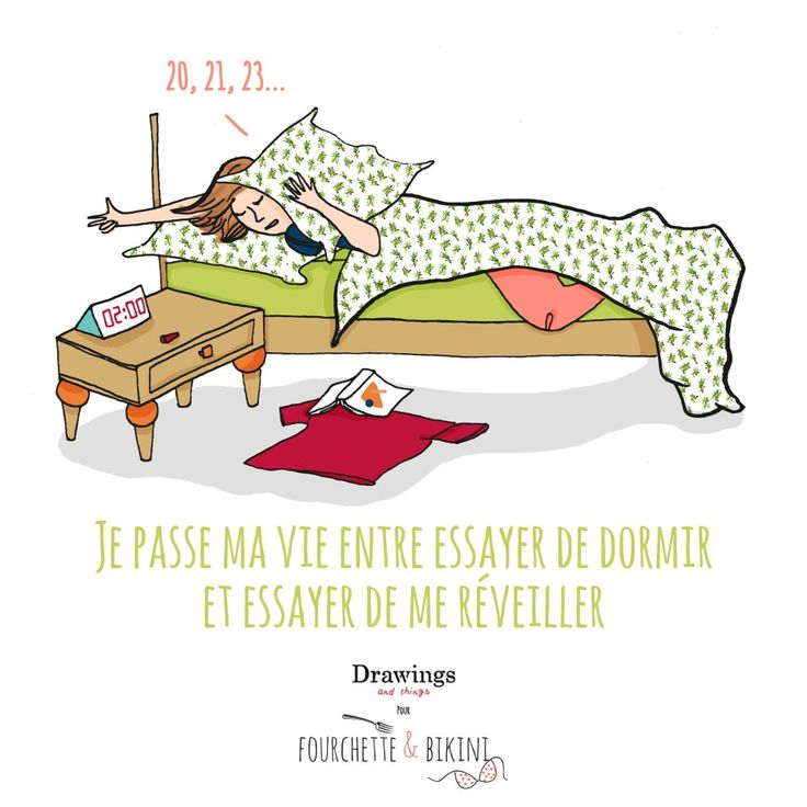 Essayer de dormir /// www.drawingsandthings.com pour Fourchette & Bikini