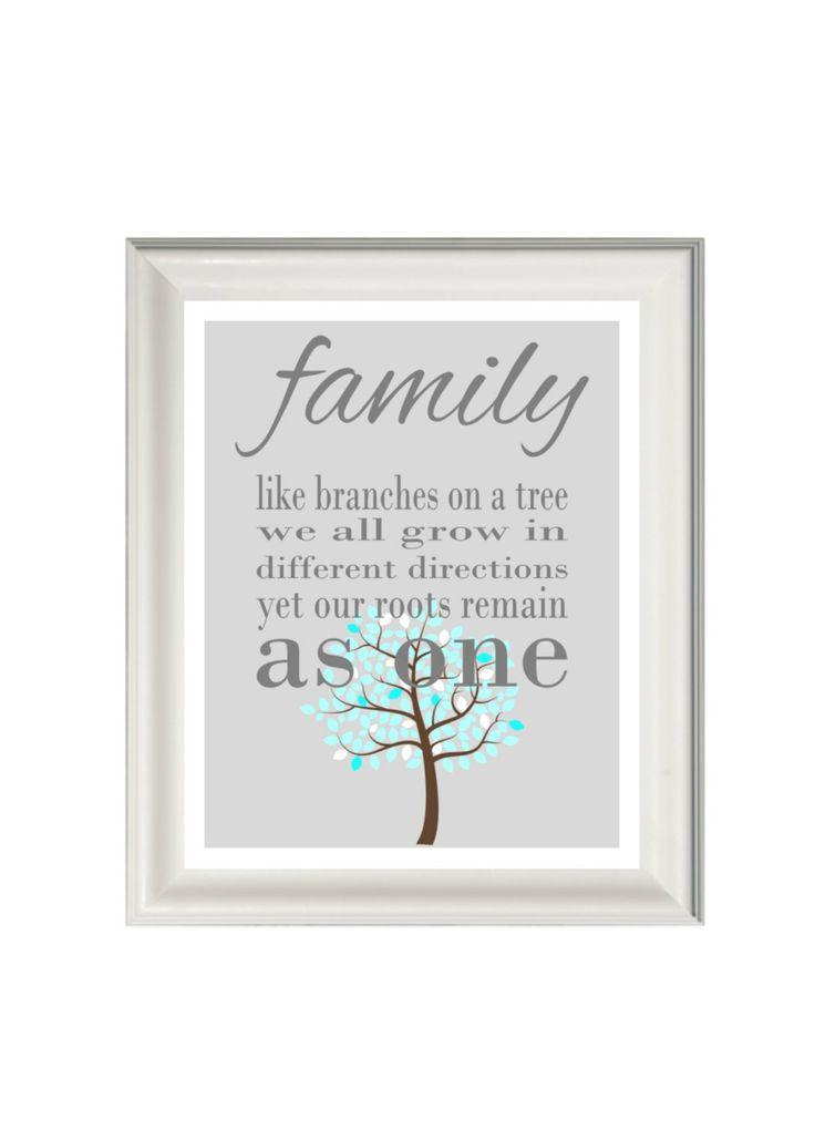 Printable Family Wall Decor : Family quote print wall art tree grey