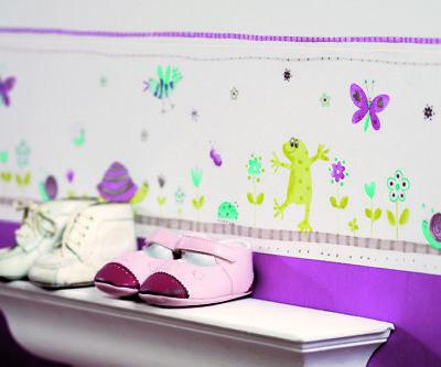 Kinderzimmer Tapeten-Bordüre Jardin Garten / 3 Farben | eBay