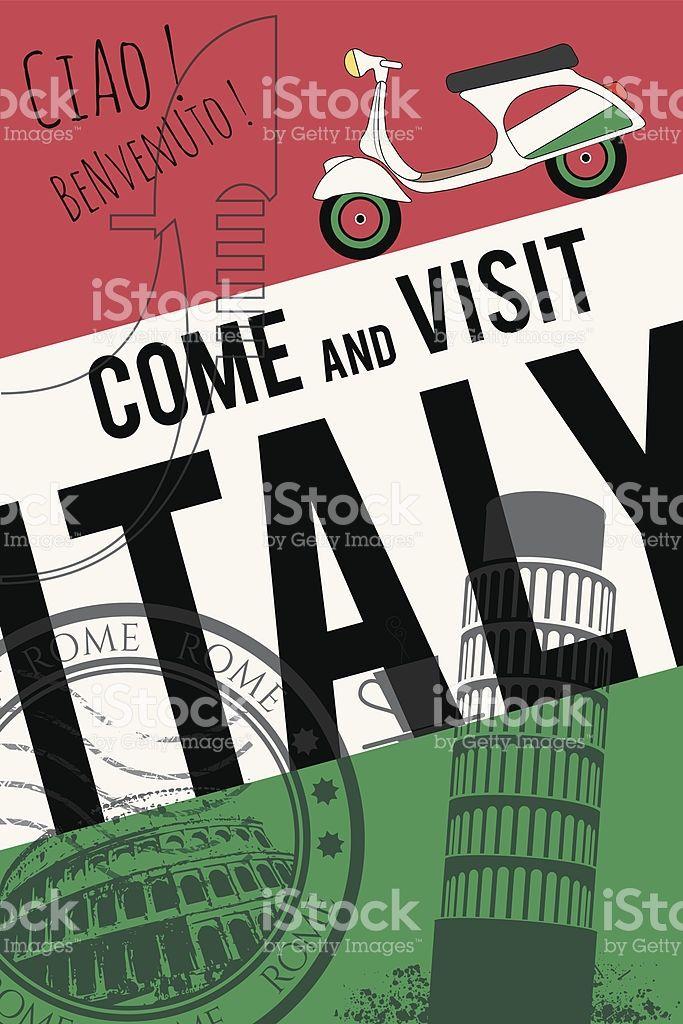 vector italy travel invitation poster royalty free vector italy