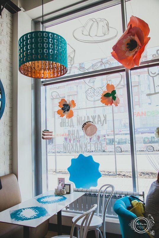 украшение кондитерской декор Новосибирск Кемерово кафе витрина гигантские цветы флористика www.flofra.ru5
