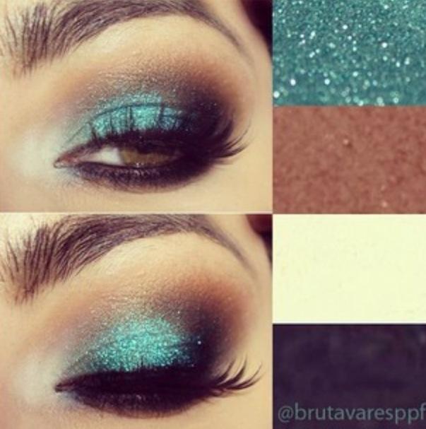 Shimmery turquoise eye makeup