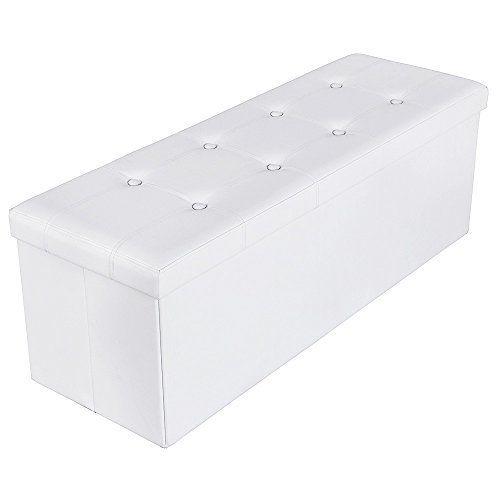Songmics 110 x 38 x 38 cm grand Pouf Coffre de Rangement Pliable chargement max. de 300 kg blanc LSF702: Price:52.99 Est-ce que vous voulez…