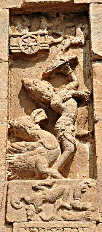 """Ravan Fights with Jataiyu. "" Virupaksha Temple. Pattadakal. Chalukya Dynasty. 8th Century CE. Karnataka, India."