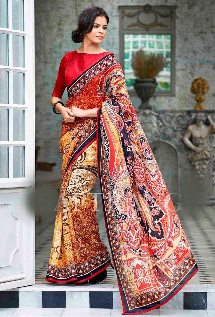 #Multicolor #linen #Designer #Saree