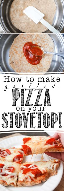 How to make homemade grilled pizza on your stove top! Delicious and so easy to whip up without firing up the grill or turning on the oven!