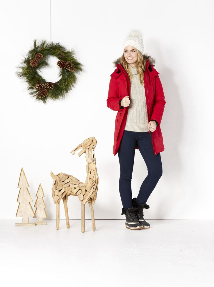 Let it snow.Keep her toasty in the great outdoors. Find the season's best picks for warm jackets, soft sweaters, lined jeans and winter boots. Then top off your gift with a cozy hat and gloves.
