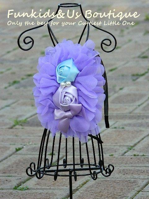 Purple Rose Flower headband Flower Girl by FunkidsandUsBoutique, $6.84