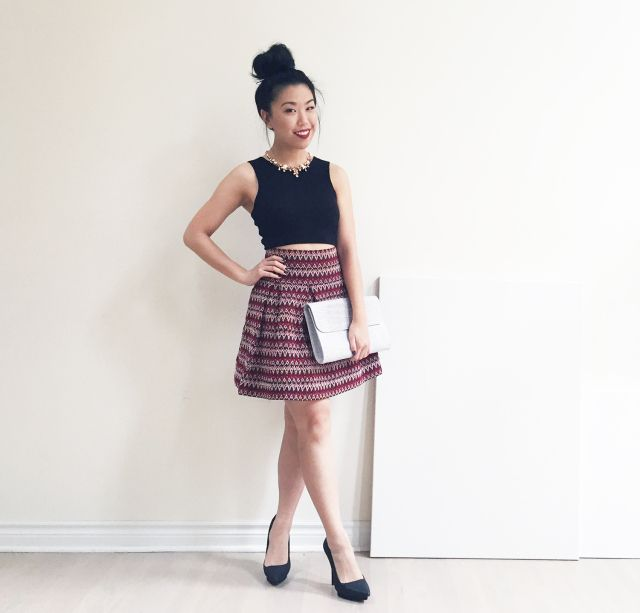 Birthday Lookbook Outfit #1 - H&M Knit Crop Top & Textured Skirt, Zara Heels, Danier Leather Envelope Clutch, J.Crew Statement Necklace
