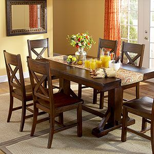 maybe get two of these tables pushed together for our large, but casual dining room: Dining Rooms Sets,  Boards, Casual Dining Rooms, Buffet, Decor Ideas, Dining Table, Chairs Benches, Dinning Rooms Decor, Dining Rooms Tables