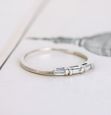 1950s Three Baguette Wedding Band #wedding