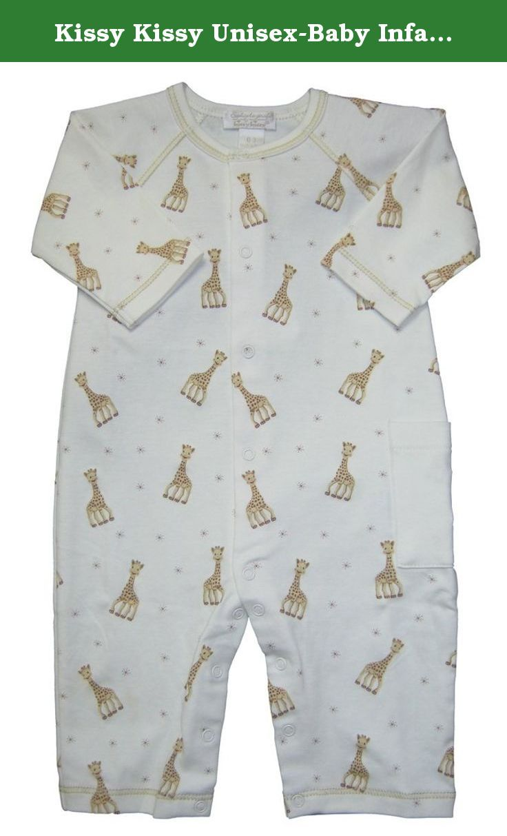 Kissy Kissy Unisex-Baby Infant Sophie La Girafe Print Playsuit-Ecru-0-3 Months. Kissy Kissy unisex baby clothes for either boy or girl soft cotton Kissy Kissy infant ecru playsuit with print of Sophie La Girafe.