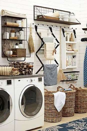 Laundry rooms are hard-working spaces. Max out your storage and workspace with a meticulously though... - Via Pinterest/Brit + Co