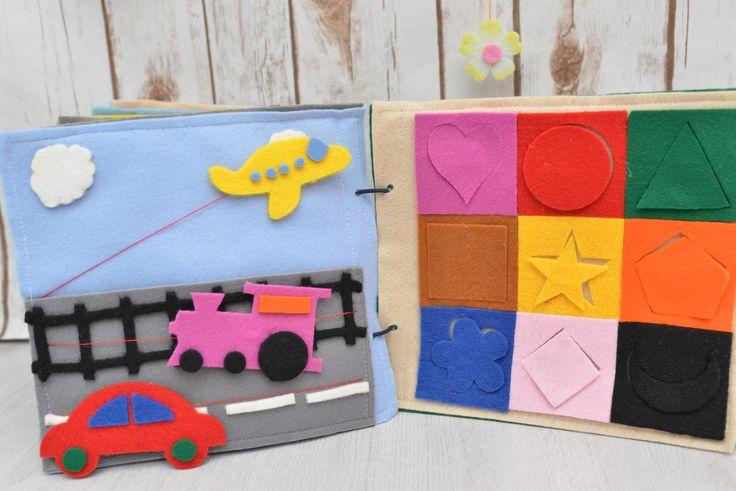 Quiet book Carti senzoriale  - Avion, masina, locomotiva pe sfoara; Formele geometrice