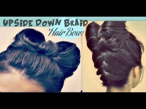 ♥easy upside down braid and bow bun! ♥    http://www.makeupwearables.com/2013/01/hair-bow-hairstyle-upside-down-braid.html    How to hair bow in your hair tutorial, with an upside down braid bun/chignon, an upside down braided French braid/plait style updo hairstyle, for medium, long hair, and even  for short hair with ext...