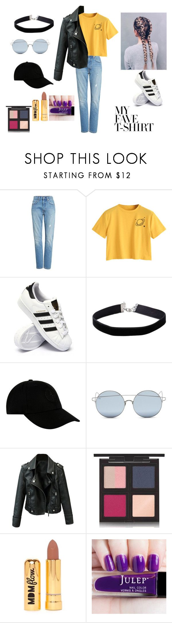 """""""saturn"""" by heart-hope ❤ liked on Polyvore featuring Levi's, adidas, Miss Selfridge, STONE ISLAND, For Art's Sake, The Body Shop, Nasty Gal and MyFaveTshirt"""