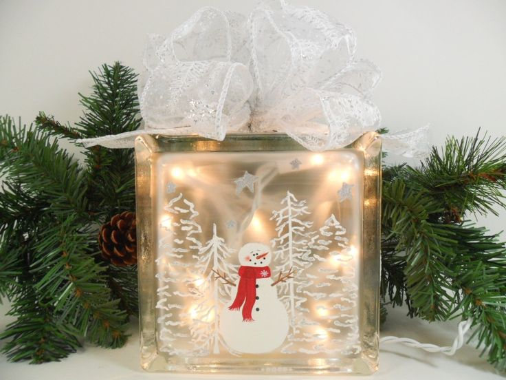 Glass Block Craft Ideas For Christmas Part - 16: Lighted Glass Block Snowman Snow Scene 5 3/4 X 5 3/4 X