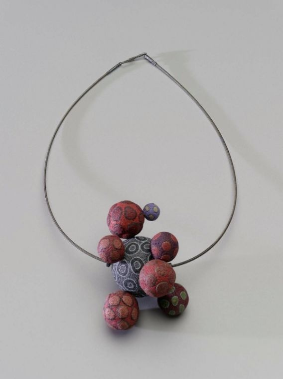 Necklace | Steven Ford and David Forlano.  Polymer clay, cable wire, and patinated white metal
