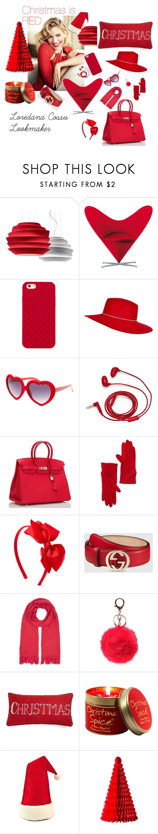 """Christmas is Red"" by loredanacossu on Polyvore featuring moda, Foscarini, Tory Burch, River Island, Full Tilt, FOSSIL, Hermès, Vincent Pradier, Gucci e Oasis"