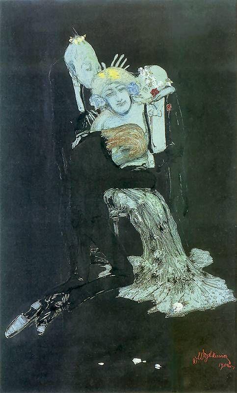 Witold Wojtkiewicz, Czułostkowi (z cyklu Szkice Tragikomiczne).  1904. Akwarela, tusz, gwasz, kredka na papierze. 48 x 28 cm..  Muzeum Narodowe, Kraków.   http://www.pinakoteka.zascianek.pl/Wojtkiewicz/Images/Czulostkowi.jpg
