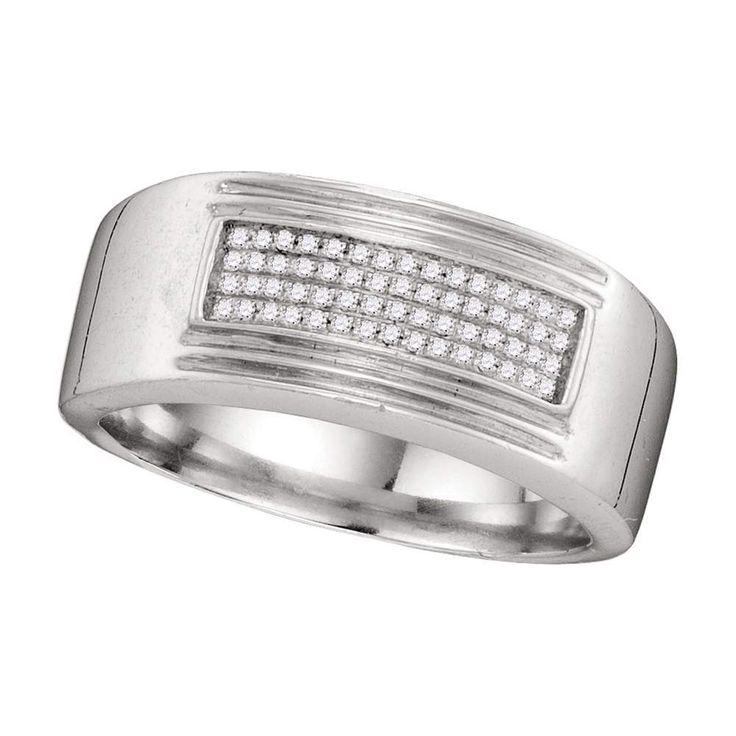 10k white gold mens diamond rectangle cluster wedding band