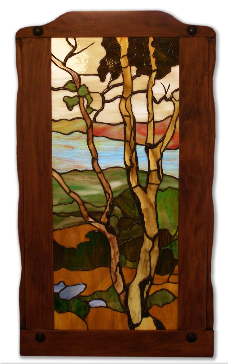 Beach theme decoration stained glass window panels arts crafts - Framed Handmade Stained Glass Arts Crafts Style Landscape 395 00 Via Etsy
