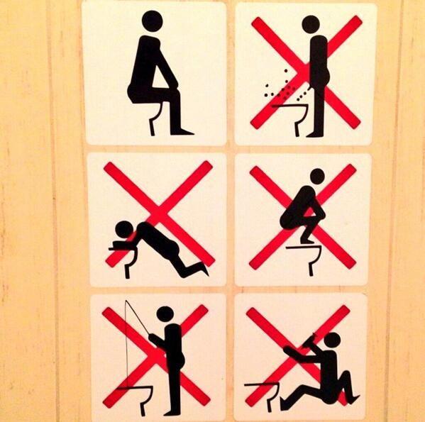 Panneau d'informations devant les toilettes à Sotchi (photo de Sebastien Toutant, snowborder Pro)...