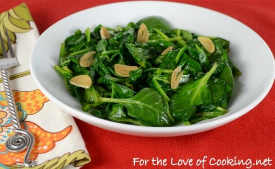 For the Love of Cooking » Sesame Garlic Wilted Spinach