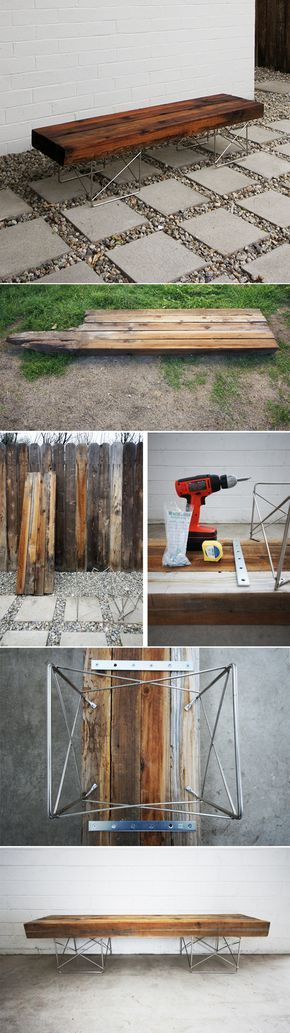 Bench and Walkway for side of house (put thoes rocks to better use) DIY : Midcentury bench made from reclaimed wood