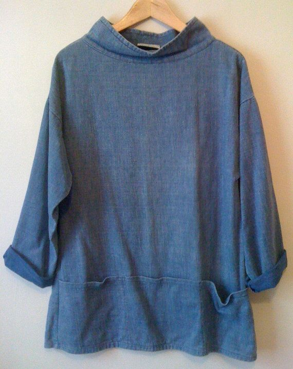 Welsh Vintage 100% Cotton Artist Fisherman Sailor Smock Great Condition Cowl Neck Nautical Demin Size M Three Pockets