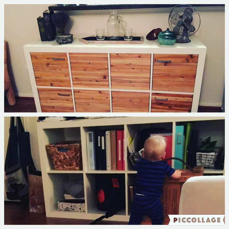 IKEA Hack using 2x4 Expedit, cedar shim covered drawer inserts, and custom made…