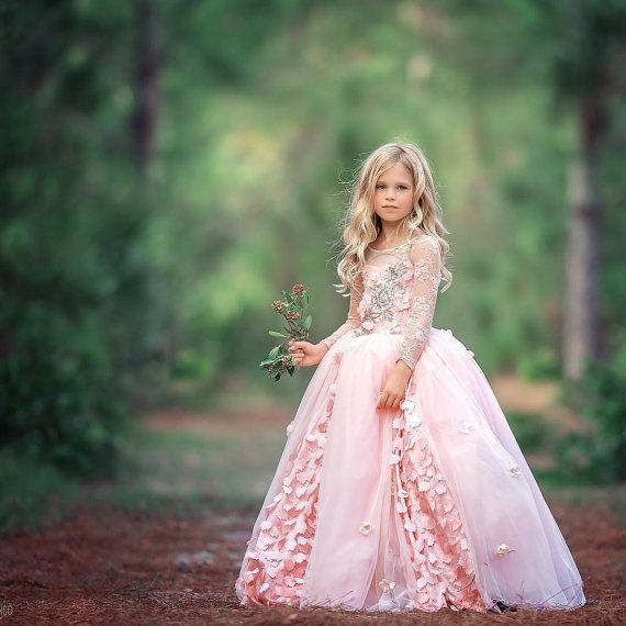 'Blushing Spring' Couture Flower Girl Dress for Ahmed / http://www.deerpearlflowers.com/flower-girl-dresses-shops/4/