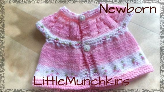 Cute pink cardigan hand knitted with pretty by LittleMunchkins1981