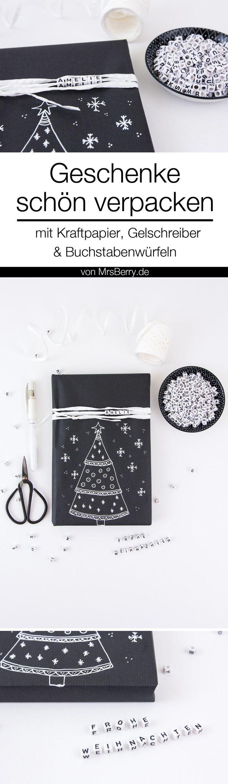 DIY-Anleitung: Geschenke verpacken in Schwarz und Weiß mit Kraftpapier.  Diese und weiter DIY Ideen, um Geschenke kreativ zu verpacken gibt's auf MrsBerry.de