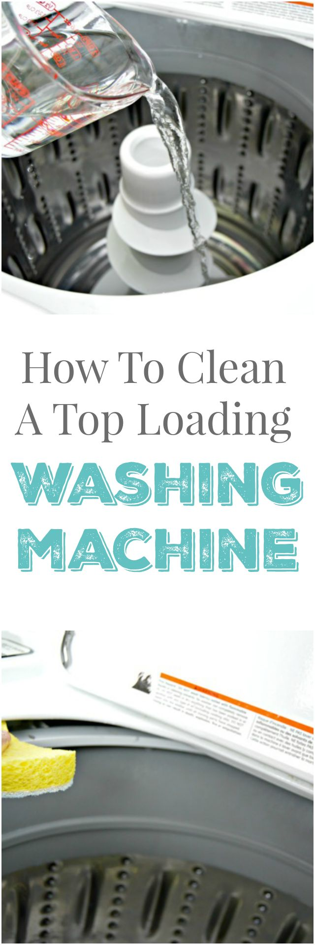 How To Clean a Top Loading Washing Machine - All Natural - Step by step instructions showing how to clean a top loading washing machine with natural ingredients. No chemicals needed, just a little vinegar and a sponge! via @Mom4Real