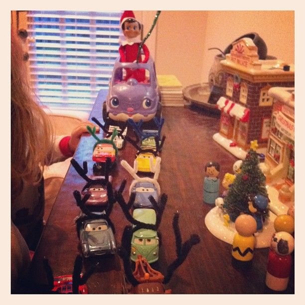 Turn toy cars into reindeer- hilarious