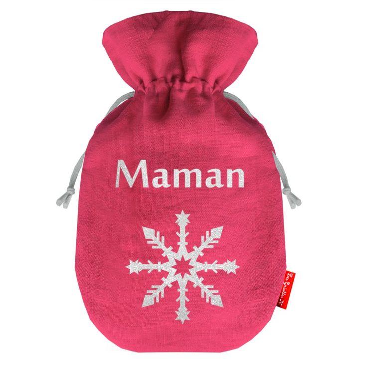 Bouillotte personnalisée MOTIF flocon de neige, couleur framboise pour Maman