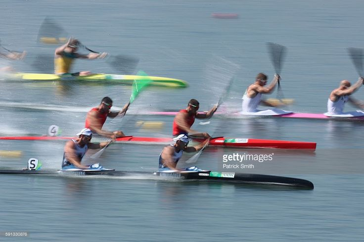 Jon Schofield (bottom L) and Liam Heath (bottom R) of Great Britain compete in…