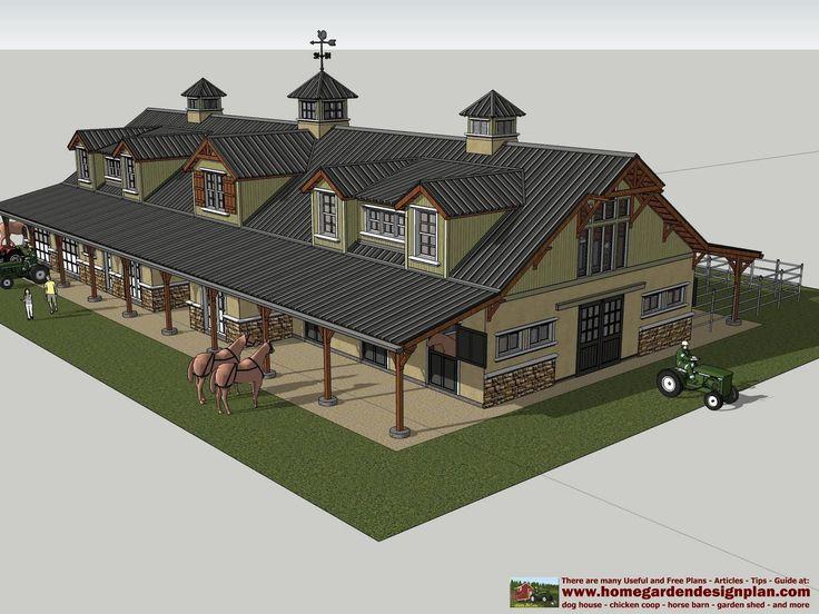 home garden plans: HB100 - Horse Barn Plans - Horse Barn ...