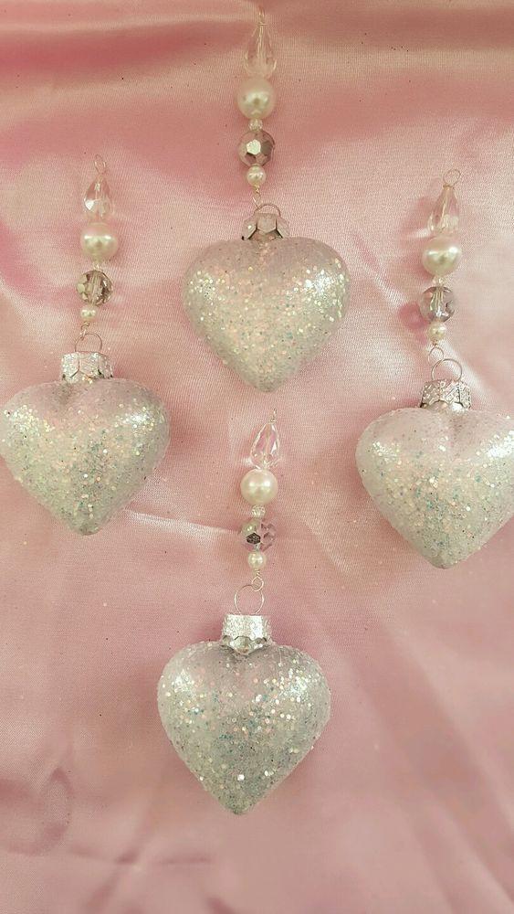Set 4 *Swarovski Crystal* Valentineu0027s Day White Glitter Glass Hearts  Ornaments