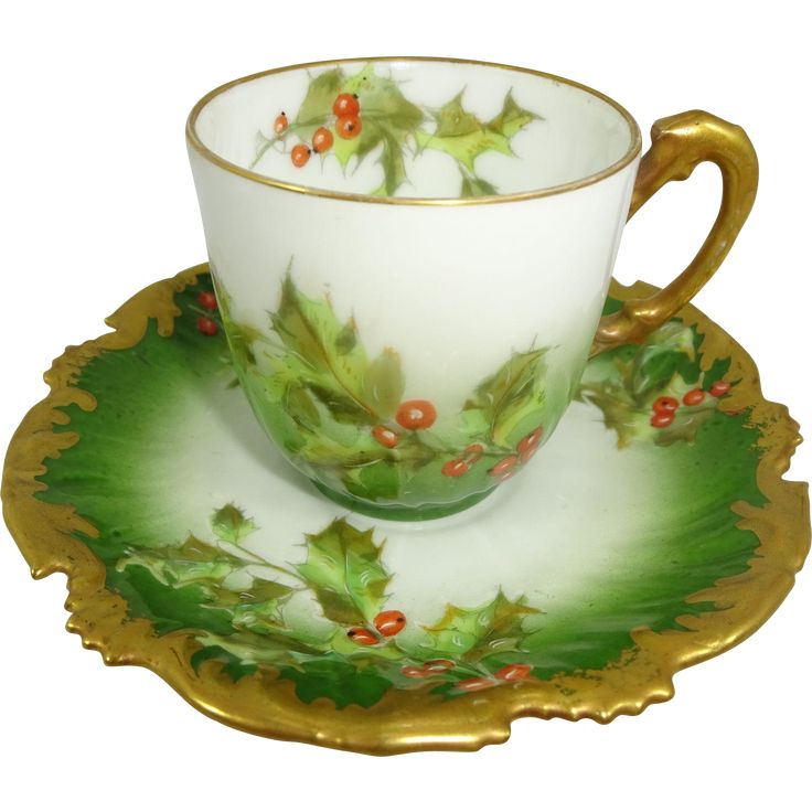 Antique Limoges France Cup Saucer Christmas Holly Berries - T&V Limoges teacup features the ever-popular, holly pattern on a deep, emerald green backdrop highlighted with a stunning, radiant, coin gold - Christmas Tea Cup Teacup