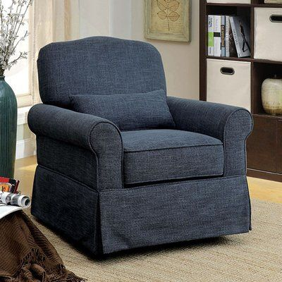 Darby Home Co Bernon Transitional Glider Chair with Cushion Fabric: Dark Blue