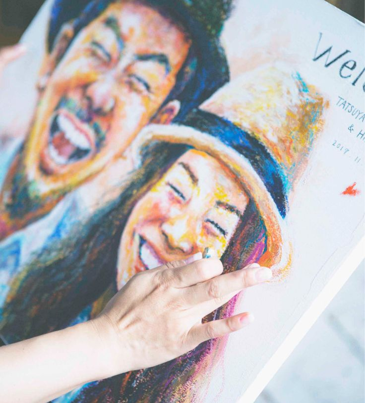 似顔絵作家「Saeko」のご紹介。ウェルカムボードやプレゼント用ボードなどに似顔絵を描いています。